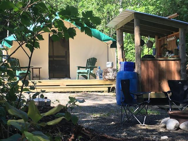 <p>If you don't want to travel as far for a rainforest adventure, stay in Canada in this tent in Ucluelet, B.C. for $104 a night. (Airbnb) </p>