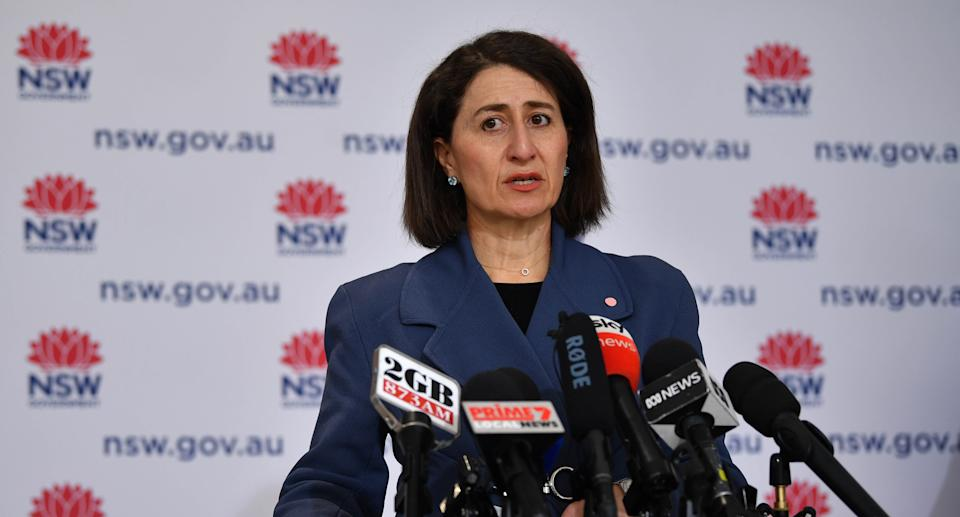 NSW Premier Gladys Berejiklian speaks to the media during a press conference in Sydney. Source: AAP