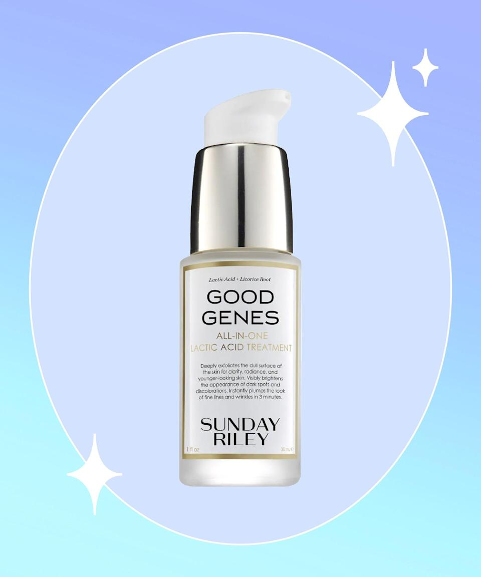 """<strong>Goal:</strong> Treat maskne once and for all<br><br><strong>Use:</strong> Sunday Riley Good Genes All-In-One Lactic Acid Treatment<br><br><strong>Why? </strong>When there's a buildup of sweat and bacteria, and your pores are blocked by a layer of fabric, <a href=""""https://www.refinery29.com/en-us/2020/10/10136549/maskne-treatment"""" rel=""""nofollow noopener"""" target=""""_blank"""" data-ylk=""""slk:maskne inevitably occurs"""" class=""""link rapid-noclick-resp"""">maskne inevitably occurs</a>. To unclog pores and slough off dead skin cells, a chemical exfoliant is key, especially a gentle one that won't exacerbate the area even further. That's why lactic acid, an alpha hydroxy acid so gentle it can be used daily, is your answer to treating maskne. This serum by Sunday Riley is essentially lactic acid in a bottle, and its sole purpose is to clarify, smooth, and brighten skin. <br><br><strong>Sunday Riley</strong> Good Genes All-In-One Lactic Acid Treatment, $, available at <a href=""""https://go.skimresources.com/?id=30283X879131&url=https%3A%2F%2Fwww.sephora.com%2Fproduct%2Fgood-genes-all-in-one-lactic-acid-treatment-P309308%3Ficid2%3Dproducts%2520grid%3Ap309308%26skuId%3D1418581"""" rel=""""nofollow noopener"""" target=""""_blank"""" data-ylk=""""slk:Sephora"""" class=""""link rapid-noclick-resp"""">Sephora</a>"""