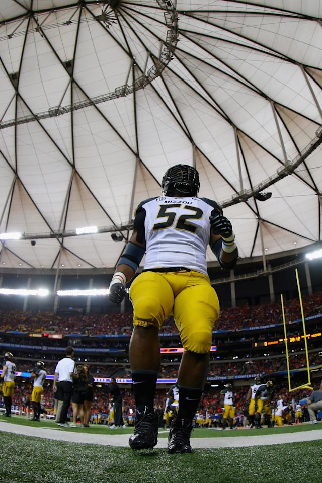 ATLANTA, GA - DECEMBER 07: Michael Sam #52 of the Missouri Tigers is seen before playing against the Auburn Tigers during the SEC Championship Game at Georgia Dome on December 7, 2013 in Atlanta, Georgia. (Photo by Mike Ehrmann/Getty Images)