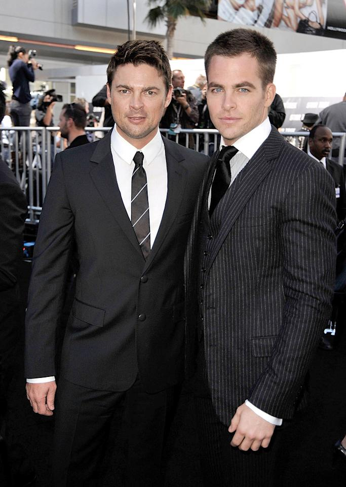 "<a href=""http://movies.yahoo.com/movie/contributor/1804383477"">Karl Urban</a> and <a href=""http://movies.yahoo.com/movie/contributor/1808520306"">Chris Pine</a> at the Los Angeles premiere of <a href=""http://movies.yahoo.com/movie/1809752801/info"">Star Trek</a> - 04/30/2009"