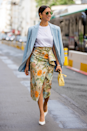 <p>See what we mean about the blazer being an office wardrobe MVP? You can even wear it over a midi skirt and t-shirt. </p>