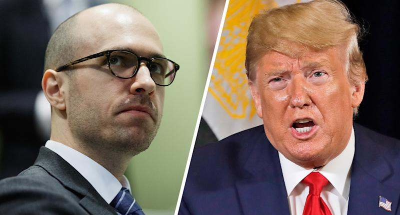 A.G. Sulzberger and President Donald Trump. (Photos: Michael Cohen/Getty Images for The New York Times - Evan Vucci/AP)