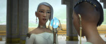 """Animated character Virana, voiced by Sandra Oh, left, appears with Namaari, voiced by Gemma Chan, in a scene from """"Raya and the Last Dragon."""" (Disney+ via AP)"""