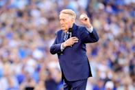 <p>Former Los Angeles Dodgers broadcaster Vin Scully stands on the field before game two of the 2017 World Series between the Houston Astros and the Los Angeles Dodgers at Dodger Stadium on October 25, 2017 in Los Angeles, California. (Photo by Harry How/Getty Images) </p>
