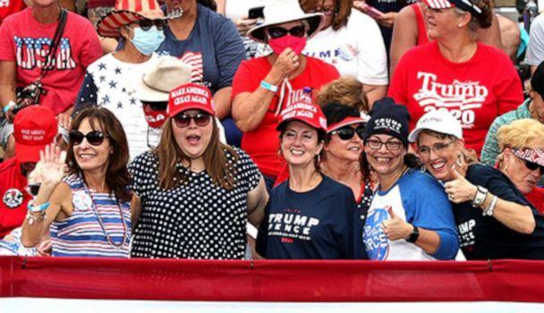 PHOTO: Supporters cheer during a 'Make America Great Again Victory Rally,' Oct. 23, 2020, at The Villages, a retirement community in Florida. (Stephen M. Dowell/Orlando Sentinel/TNS via Getty Images, FILE)