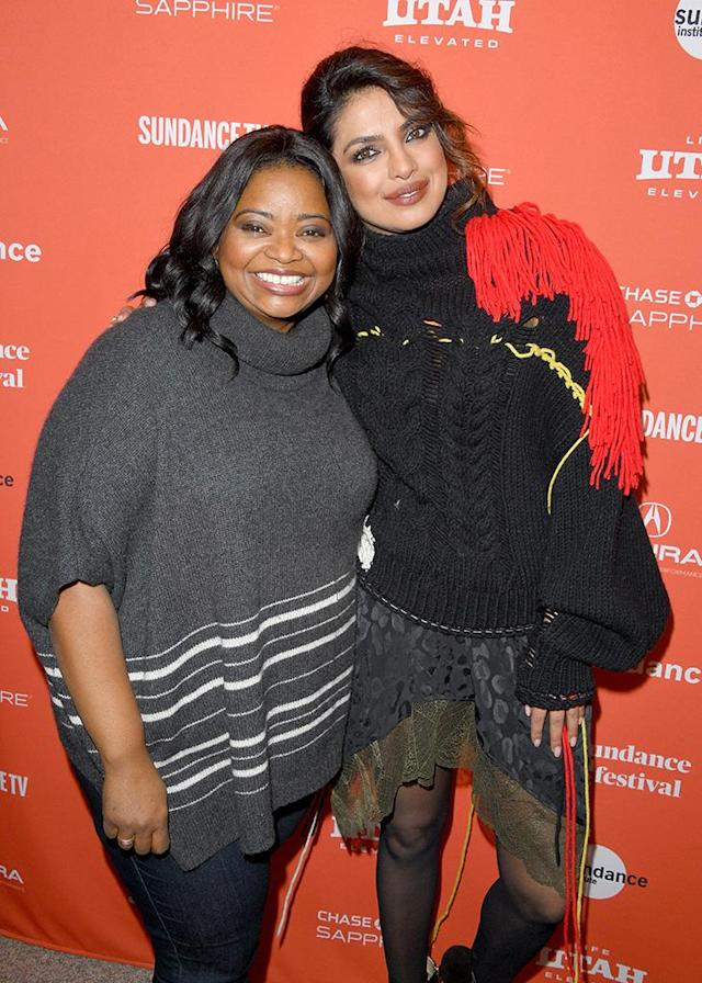 <p>The ladies attended the <em>A Kid Like Jake</em> premiere during the 2018 Sundance Film Festival on Tuesday. Spencer's smile was, no doubt, in part due to receiving an Academy Award nomination that morning for her role in <em>Shape of Water</em>. (Photo: George Pimentel/Getty Images) </p>