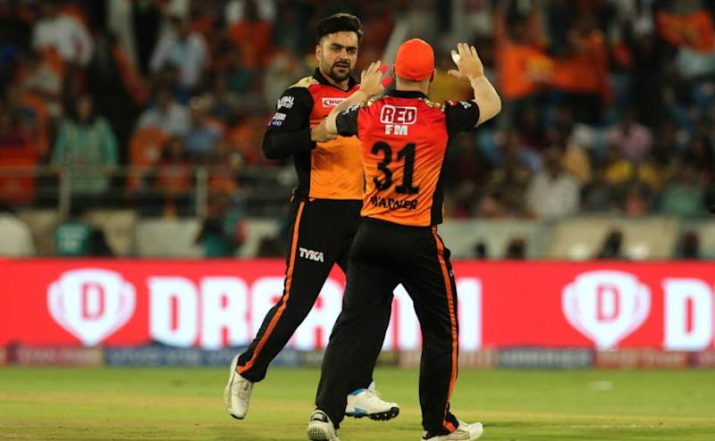 Rashid Khan of Sunrisers Hyderabad celebrates the wicket of Ambati Rayudu of Chennai Super Kings during match 33 of the Vivo Indian Premier League Season 12, 2019 between the Sunrisers Hyderabad and the Chennai Super Kings held at the Rajiv Gandhi Intl. Cricket Stadium, Hyderabad on the 17th April 2019 Photo by: Vipin Pawar /SPORTZPICS for BCCI