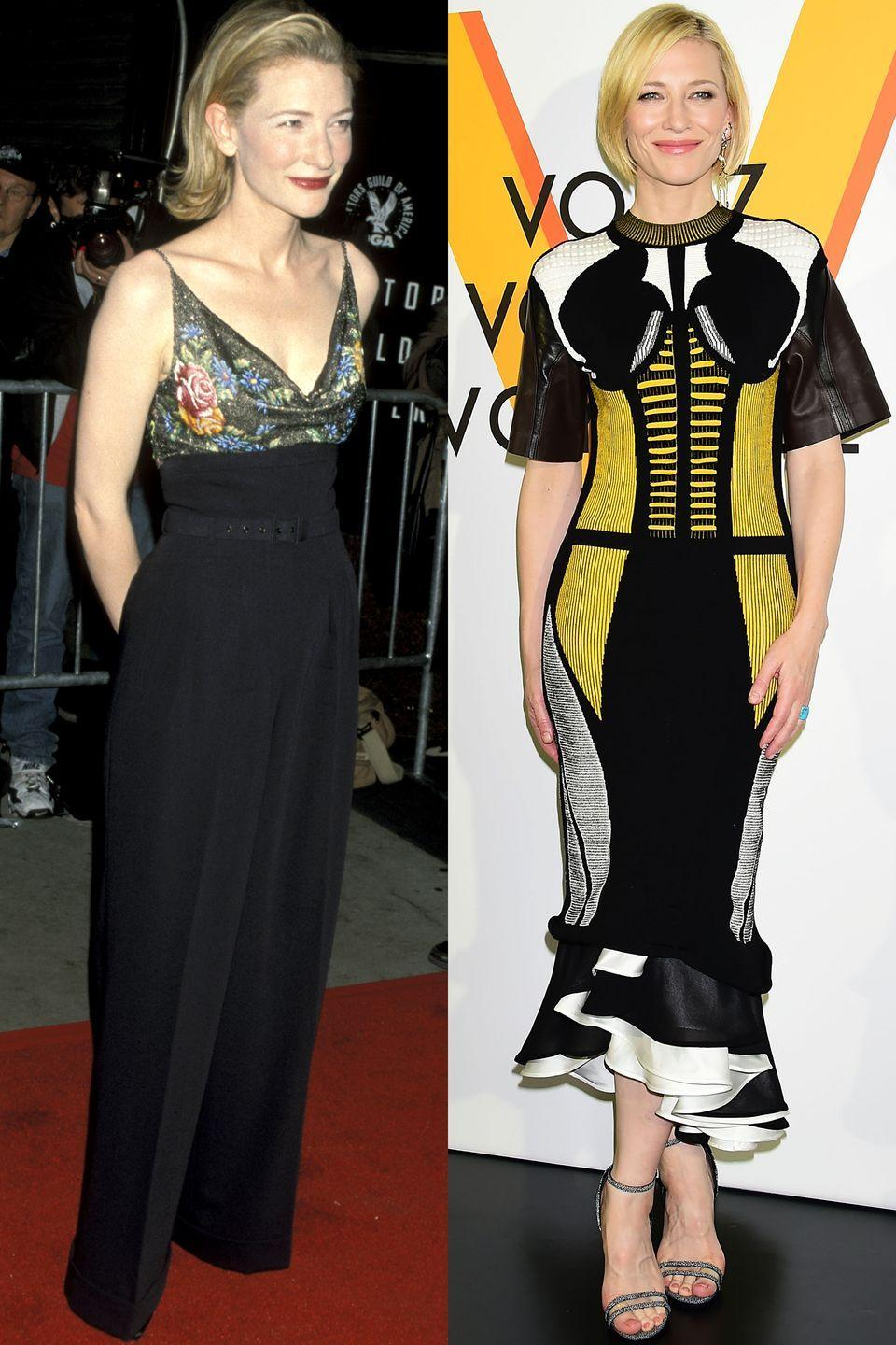 <p>Bold yellow and corset dress = YES! </p>