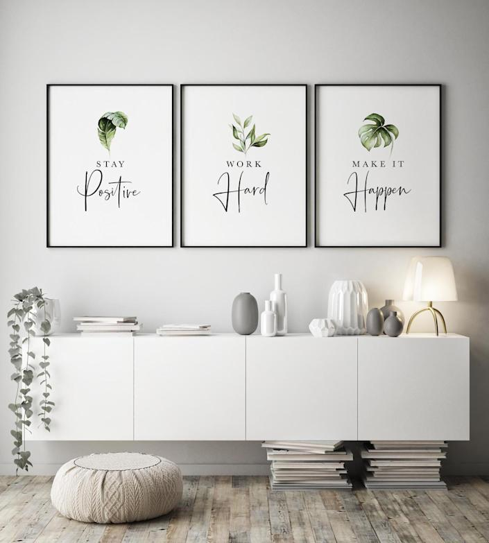 <p>Keep the <span>Set of 3 Motivational Wall Art</span> ($7) near your at-home office to stay motivated throughout the day.</p>