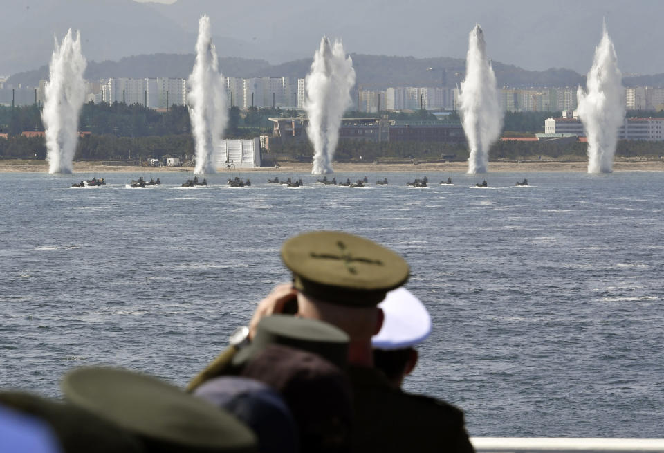 South Korean marine participate in the 73rd anniversary of Armed Forces Day in Pohang, South Korea Friday, Oct. 1, 2021. (Song Kyung-Seok/Pool Photo via AP)