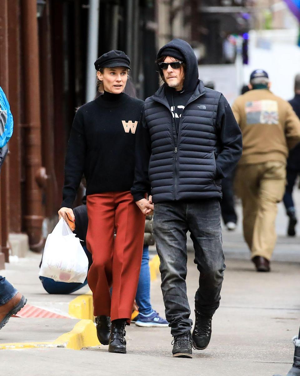 """<p>The eternally cool <a href=""""https://www.townandcountrymag.com/leisure/a6656/diane-kruger-interview/"""" rel=""""nofollow noopener"""" target=""""_blank"""" data-ylk=""""slk:Diane Kruger"""" class=""""link rapid-noclick-resp"""">Diane Kruger</a> is proof that even running errands around the neighborhood warrants thoughtful wardrobe choices. Slick trousers and a sweater with slightly collegiate overtones are perennial classics, while androgynous add-ins help create a distinct, preppy-with-a-twist vibe.</p>"""
