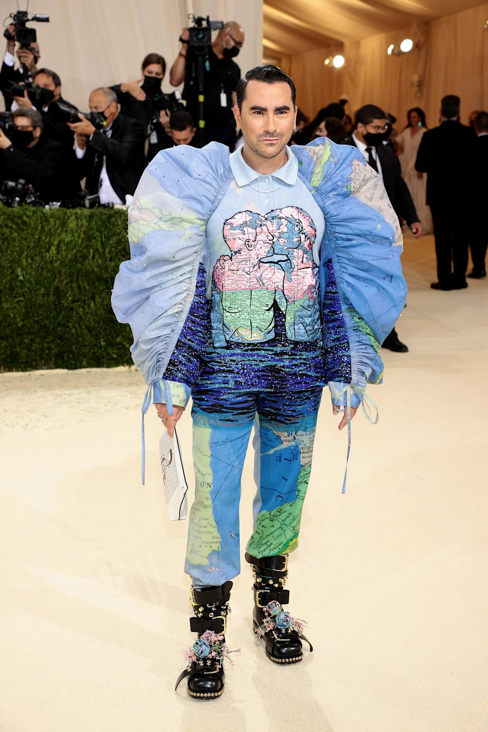 <h2>Dan Levy wearing Loewe</h2><br><em>Schitt's Creek</em>'s Dan Levy, in collaboration with Loewe designer Jonathan Anderson, used the Met Gala to spread a message about marriage equality.