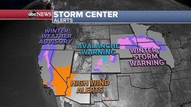 PHOTO: There are 11 states on alert for heavy snow, strong winds and avalanche danger from California to Illinois.      (ABC News)