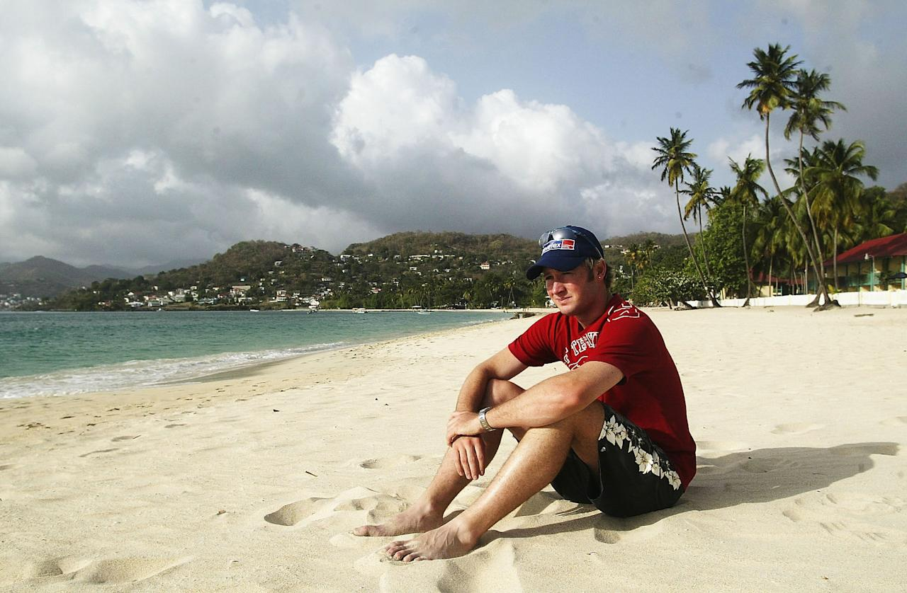 ST GEORGE'S, GRENADA - MAY 26:  Michael Clarke of Australia sits on the beach on May 26, 2003 at the Grenada Grand Beach Resort in St George's, Grenada. (Photo by Hamish Blair/Getty Images)