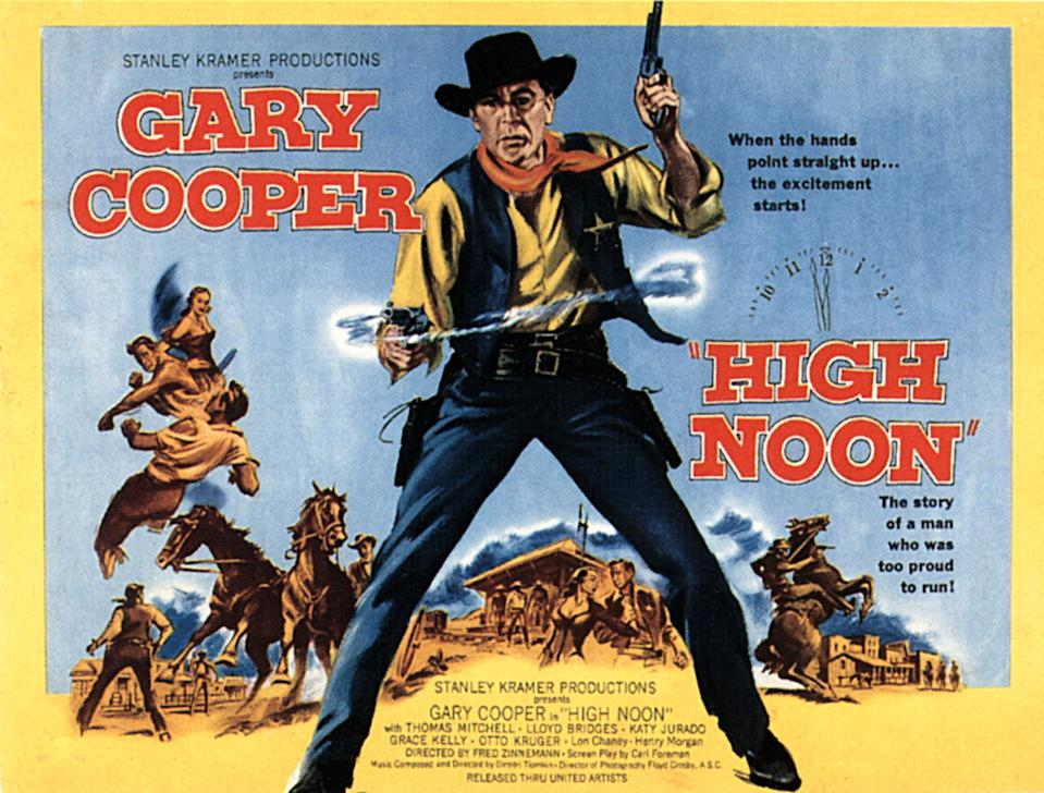 High Noon, poster, Gary Cooper, 1952. (Photo by LMPC via Getty Images)