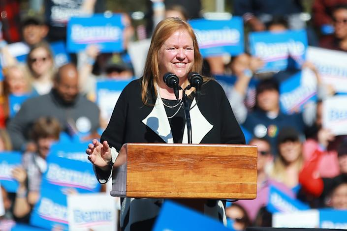 Jane Sanders, the wife of Vermont senator and Democratic presidential candidate Bernie Sanders speaks at the Bernie's Back Rally in Long Island City, New York on Saturday, Oct. 19, 2019. (Photo: Gordon Donovan/Yahoo News)