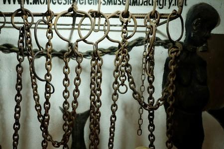 An original slave chain that dates from the 18th century that was captured from a slave ship is seen on display at the Mobee Royal Family Slave Relics Museum in Badagry