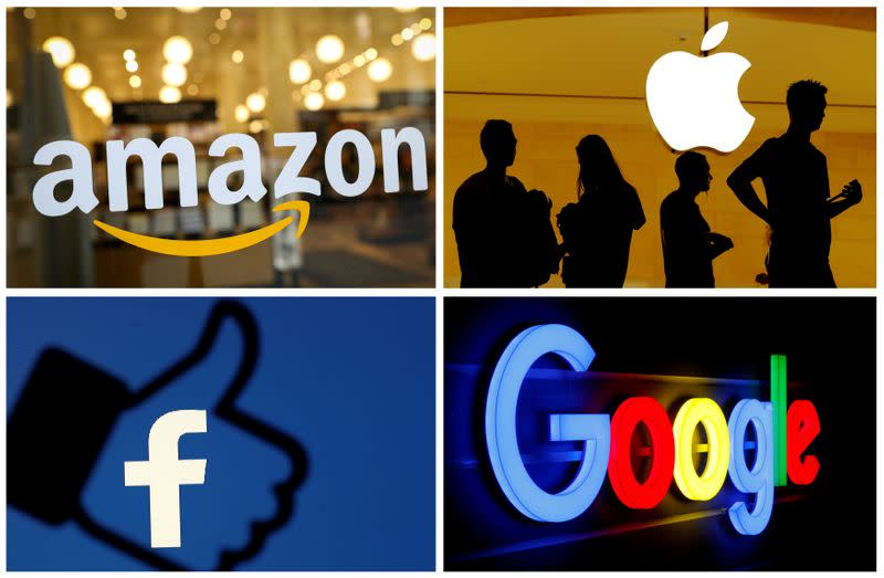 FILE PHOTO: FILE PHOTO: The logos of Amazon, Apple, Facebook and Google
