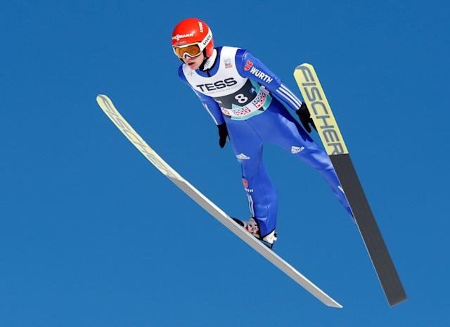 Ski Jumping - FIS World Cup - Men's Team - Vikersund, Norway - March 17, 2018. Richard Freitag of Germany in action. NTB Scanpix/Terje Bendiksby via REUTERS ATTENTION EDITORS - THIS IMAGE WAS PROVIDED BY A THIRD PARTY. NORWAY OUT. NO COMMERCIAL OR EDITORIAL SALES IN NORWAY.