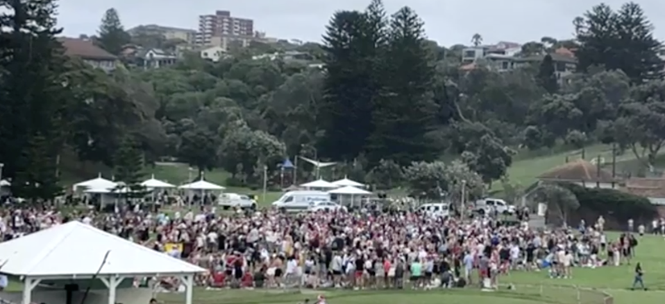 Hundreds flouted social distancing rules at Bronte Beach on Christmas Day. Source: Nine News