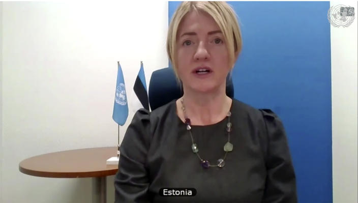 In this image made from UNTV video, Estonia's Foreign Minister Eva-Maria Liimets speaks during a U.N. Security Council high-level meeting on COVID-19 recovery focusing on vaccinations, chaired by British Foreign Secretary Dominc Raab, Wednesday, Feb. 17, 2021, at UN headquarters, in New York. (UNTV via AP)