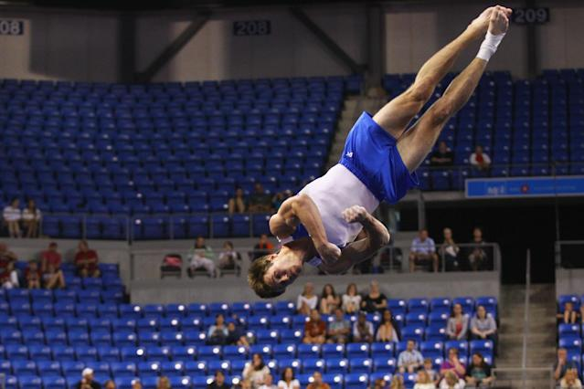 ST. LOUIS, MO - JUNE 7: R.G. Heflin competes in the floor exercise during the Senior Men's competition on day one of the Visa Championships at Chaifetz Arena on June 7, 2012 in St. Louis, Missouri. (Photo by Dilip Vishwanat/Getty Images)