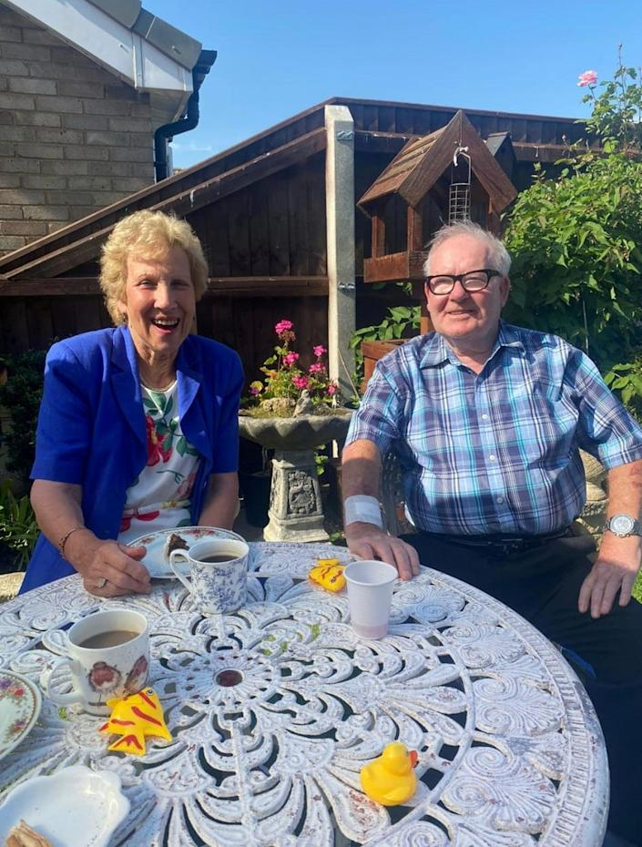 Lynne Woolliss, 76, and hubby Bert, 77. See SWNS story SWLEanniversary; A bride who married the love of her of life on her 16th birthday as it was the earliest they could wed has celebrated 60 years of bliss with her husband.  Lynne Woolliss, 76, and hubby Bert, 77, are two of the youngest people in the country to mark their diamond wedding anniversary having met as teenagers. The couple celebrated their diamond anniversary at their home in Cleethorpes, Lincs., on Saturday (July 17) surrounded by their family and were 'chuffed' to receive a card from the Queen.  They met way back in 1959 when he kept looking at her when they were at school and she 'wondered if something was wrong with him'.