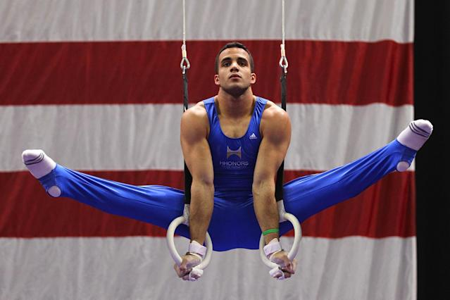 ST. LOUIS, MO - JUNE 9: Danell Leyva competes on the rings during the Senior Men's competition on Day Three of the Visa Championships at Chaifetz Arena on June 9, 2012 in St. Louis, Missouri. (Photo by Dilip Vishwanat/Getty Images)