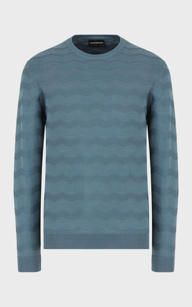 Silk-mix sweater with wave motif