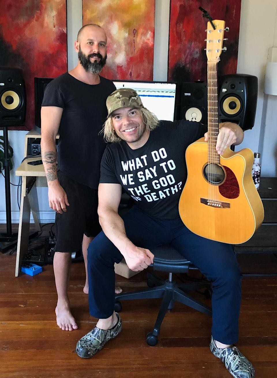 """<p>Eric the Trainer and music producer Wolves get to work on Eric's new rock group Maine Monsters' single, """"I'm Yours."""" Proceeds from sales of the song will benefit Feeding America. </p>"""