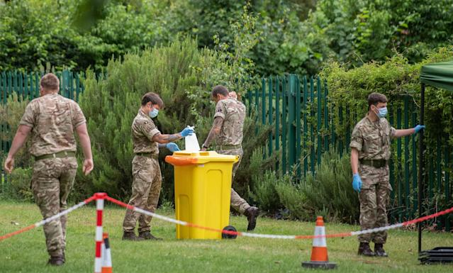 Members of the military set up a walk-in mobile COVID-19 testing centre at Spinney Hill Park in Leicester on Monday. (PA)