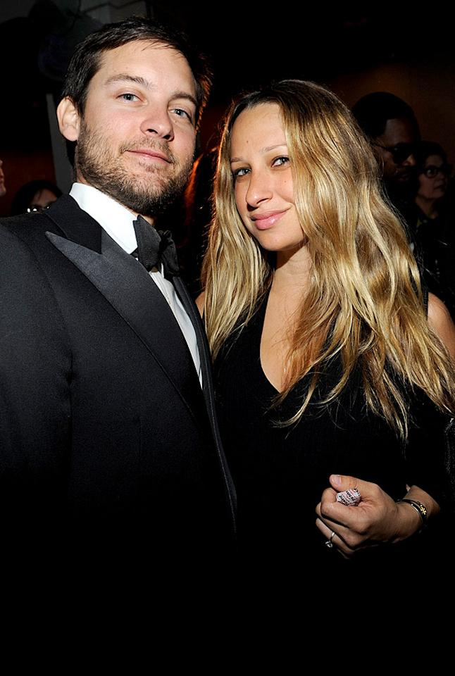 """Even though Tobey Maguire's wife is expecting, the couple celebrated President Obama's inauguration at MTV and ServiceNation's """"Be the Change: Live From The Inaugural Ball."""" Kevin Mazur/<a href=""""http://www.wireimage.com"""" target=""""new"""">WireImage.com</a> - January 20, 2009"""