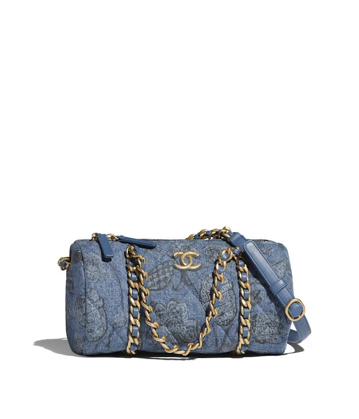 """<p><strong>Chanel</strong></p><p>Chanel.com</p><p><strong>$4500.00</strong></p><p><a href=""""https://go.redirectingat.com?id=74968X1596630&url=https%3A%2F%2Fwww.chanel.com%2Fus%2Ffashion%2Fp%2FAS2616B05982NC857%2Fsmall-bowling-bag-printed-denim-gold-tone-metal%2F&sref=https%3A%2F%2Fwww.harpersbazaar.com%2Ffashion%2Ftrends%2Fg35555954%2Ffall-2021-bag-trends%2F"""" rel=""""nofollow noopener"""" target=""""_blank"""" data-ylk=""""slk:Shop Now"""" class=""""link rapid-noclick-resp"""">Shop Now</a></p><p>Queue the '90s hits and strut into the weekends wearing an all-denim look holding this Chanel bag. We love how the bowling bag silhouette seems to always fit everything we need.</p>"""