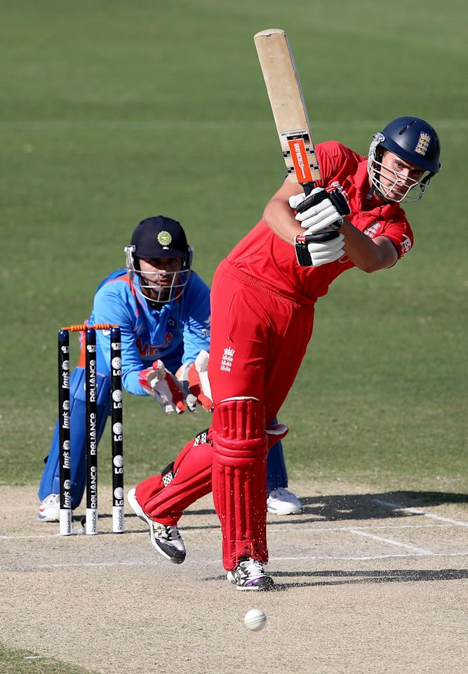 DUBAI, UNITED ARAB EMIRATES - FEBRUARY 22: William Rhodes of England bats during the ICC U19 Cricket World Cup 2014 Quarter Final match between England and India at the Dubai Sports City Cricket Stadium on February 22, 2014 in Dubai, United Arab Emirates.  (Photo by Francois Nel - IDI/IDI via Getty Images)