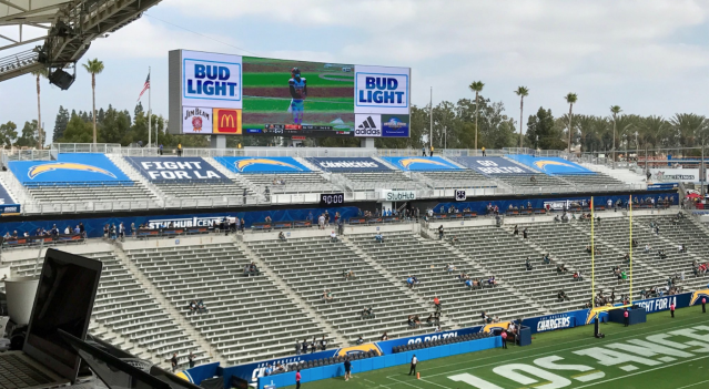 Chargers' tarps. (Twitter/@LesBowen)