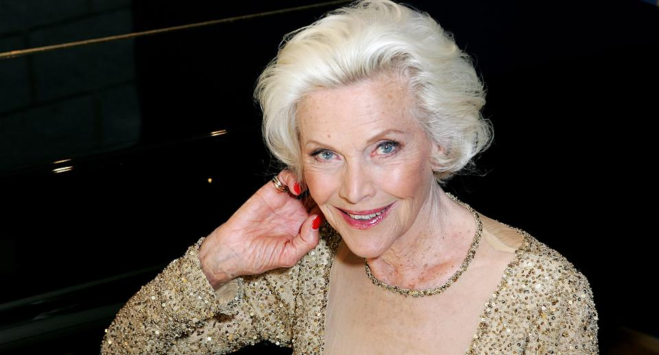 """Bond girl Honor Blackman <a href=""""https://uk.movies.yahoo.com/honor-blackman-dies-aged-94-avengers-james-bond-153928386.html"""" data-ylk=""""slk:died from natural causes;outcm:mb_qualified_link;_E:mb_qualified_link;ct:story;"""" class=""""link rapid-noclick-resp yahoo-link"""">died from natural causes</a> at the age of 94. The British actor had starred as Pussy Galore in <em>Goldfinger</em> opposite Sean Connery and was also known for her role in TV series <em>The Avengers</em>. (Photo by Rosie Greenway/Getty Images)"""