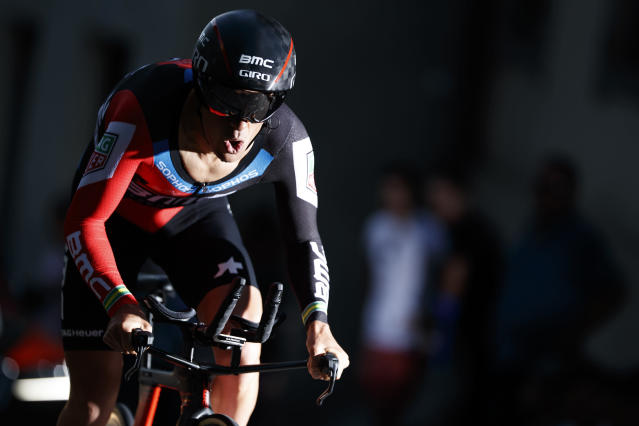 Richie Porte from Australia of BMC Racing team competes during the prologue, a 4,02 km time trial at the 72th Tour de Romandie UCI ProTour cycling race in Fribourg, Switzerland, Tuesday, April 24, 2018. (Jean-Christophe Bott/Keystone via AP)