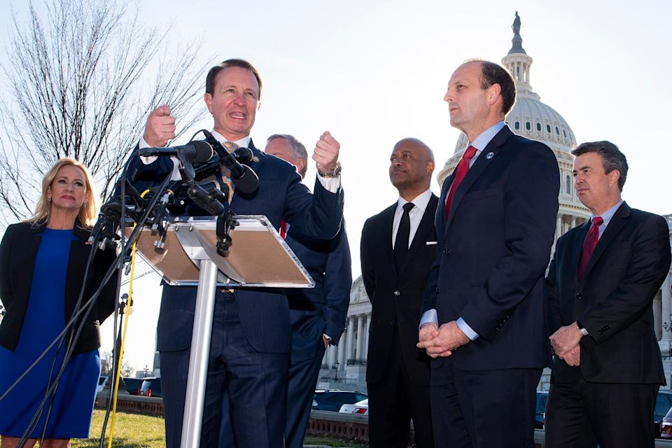 Louisiana Attorney General Jeff Landry at a Jan. 22, 2020, news conference where it was announced that Republican attorneys general from 21 states submitted a letter to the Senate to reject the two articles of impeachment against President Donald Trump.  (Photo: Cliff Owen/ASSOCIATED PRESS)