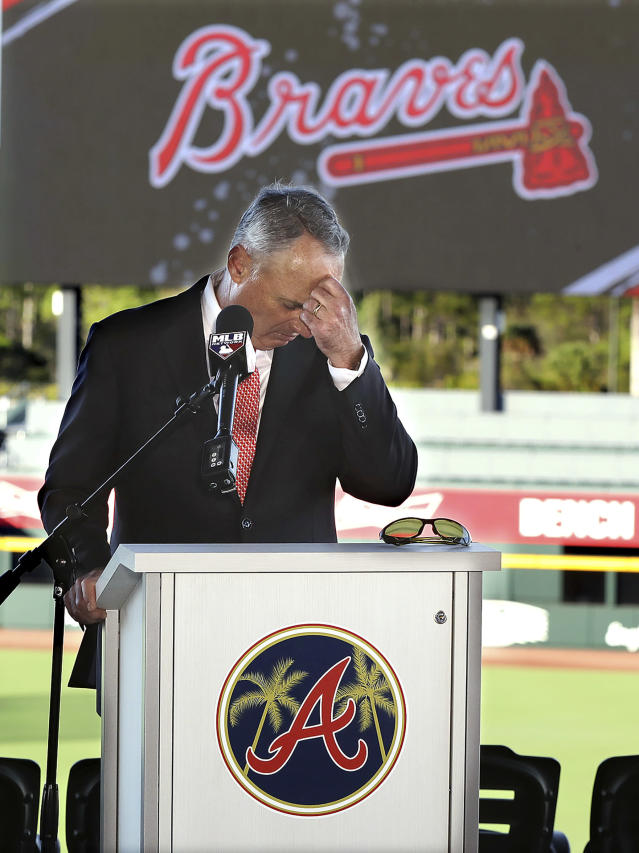 Baseball commissioner Rob Manfred pauses before answering a question about the Houston Astros, during a news conference at the Atlanta Braves' spring training facility Sunday, Feb. 16, 2020, in North Port, Fla. (Curtis Compton/Atlanta Journal-Constitution via AP)