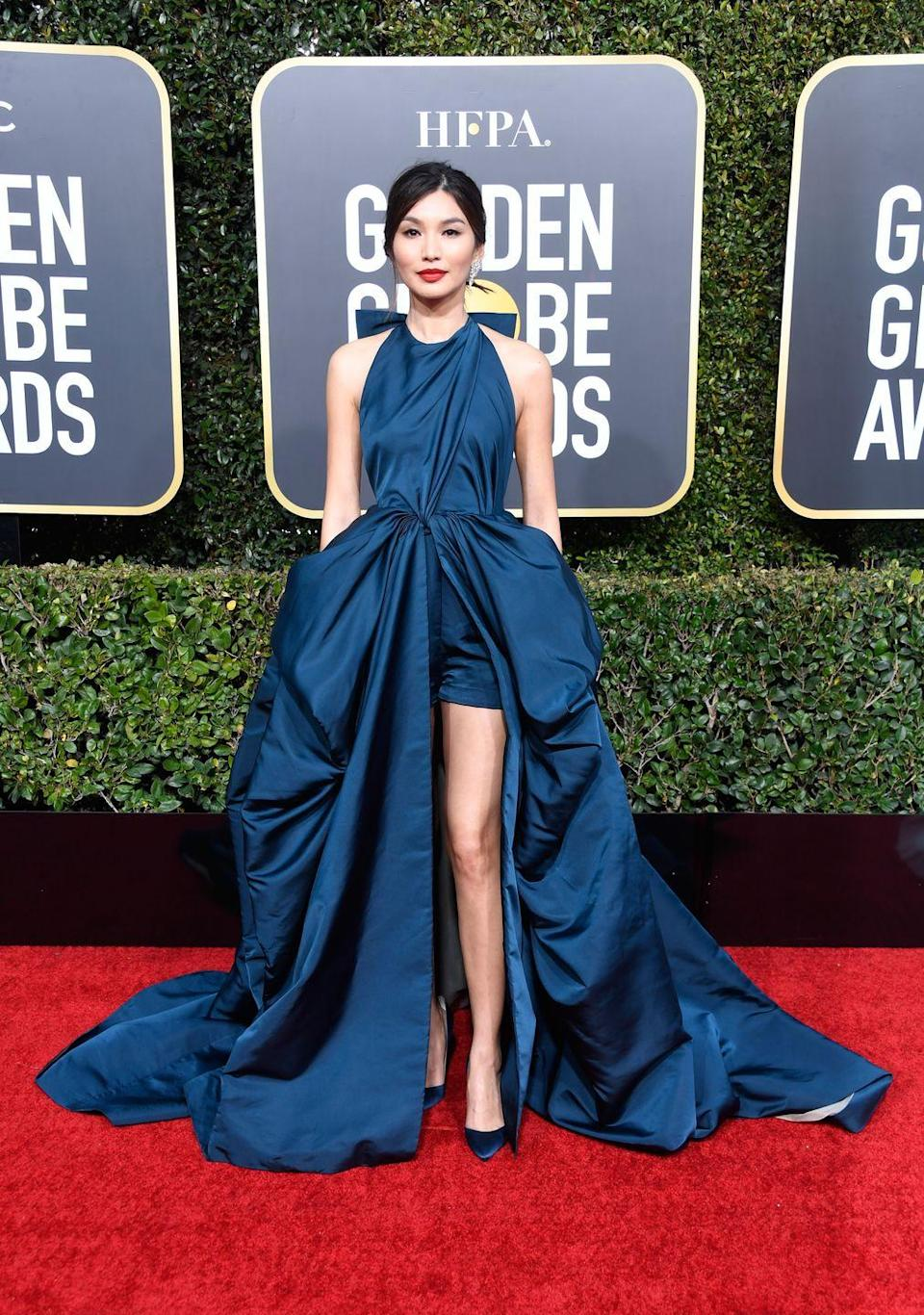 <p>Ever the style innovator, Gemma Chan opted for shorts for her Golden Globes moment in 2019. </p><p>The Valentino Couture hybrid gown is proof that shorts can do more than just be slung over a beached and sun-kissed leg, as she provided a modern twist on an otherwise classically styled red carpet gown. </p>