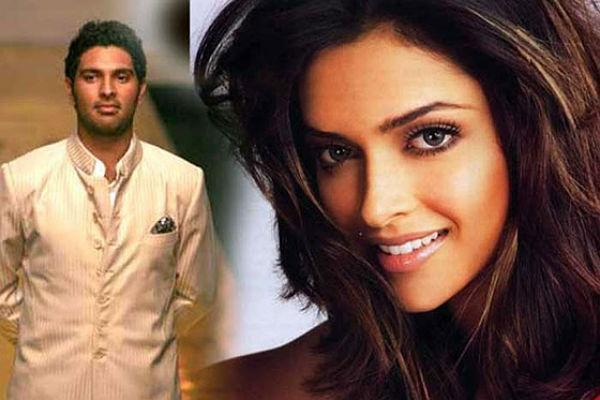 <b>6. Yuvraj Singh and Deepika Padukone</b><br><br>After M.S. Dhoni, Deepika was linked to his felllow team-mate, Yuvraj Singh and the couple was spotted together at many events. However Deepika found love in Ranbir Kapoor and Yuvraj was dumped by the actress. Deepika's relationship with Ranbir too failed.