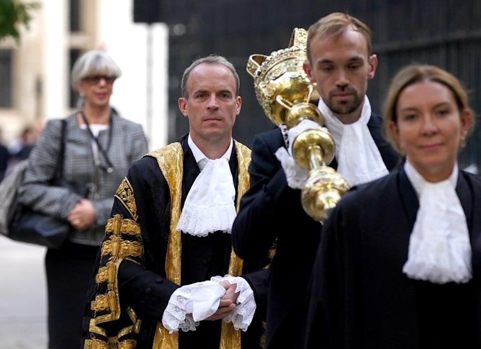 The new Lord Chancellor Dominic Raab arrives at the Judges' entrance (Gareth Fuller/PA) (PA Wire)