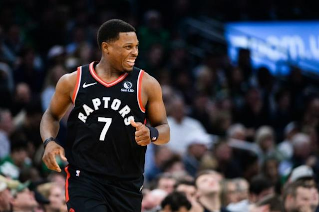 Toronto guard Kyle Lowry will miss the next two weeks of the NBA season with a broken left thumb, the reigning league champions announced Saturday (AFP Photo/Kathryn Riley)