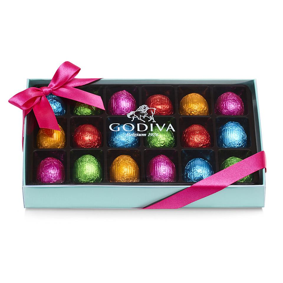 Foil-Wrapped Chocolate Easter Egg Gift Box. Image via Godiva.