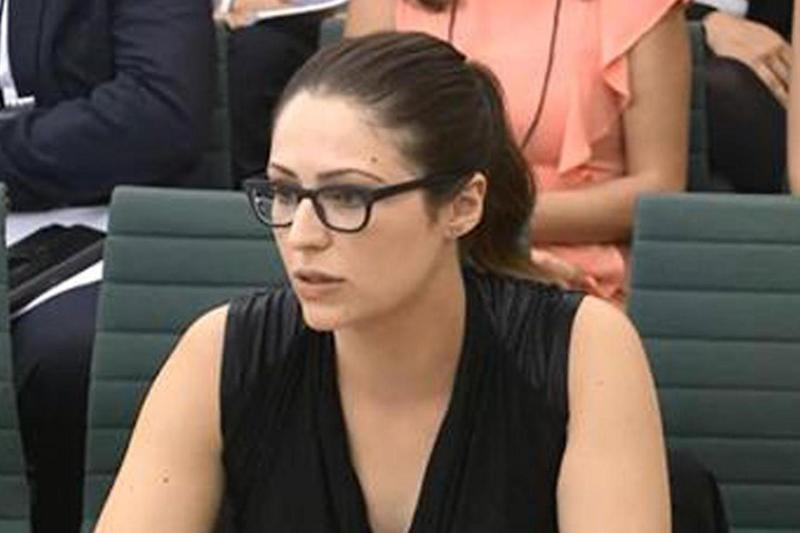 Nicola Thorp, who spoke out about workplace sexism, giving evidence to the petitions committee (Parliament TV)