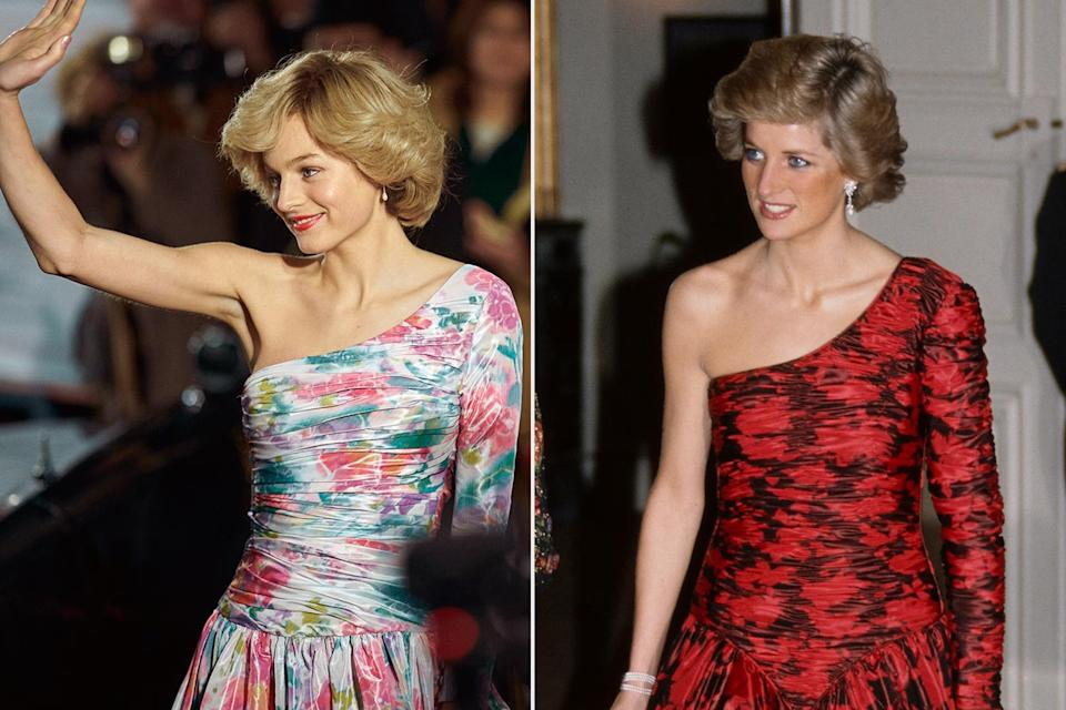<p>While not a direct replica, a one-shoulder dress was one of Princess Diana's go-to gown silhouettes.</p>