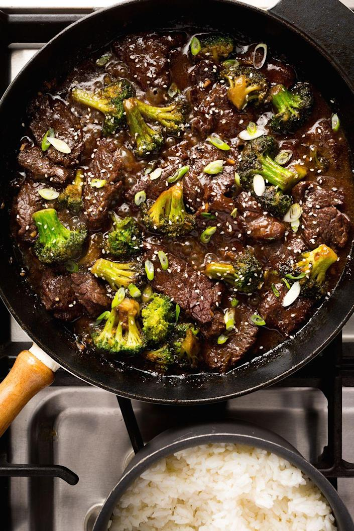 """<p>With an unbelievably delicious sauce, this beef and broccoli is sure to impress.</p><p>Get the recipe from <a href=""""https://www.delish.com/cooking/recipe-ideas/recipes/a46827/beef-and-broccoli-stir-fry-recipe/"""" rel=""""nofollow noopener"""" target=""""_blank"""" data-ylk=""""slk:Delish"""" class=""""link rapid-noclick-resp"""">Delish</a>.</p>"""