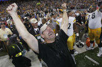 FILE - Pittsburgh Steelers head coach Bill Cowher reacts after being doused with water after the team's 21-10 win over the Seattle Seahawks in the Super Bowl XL football game in Detroit, in this Sunday, Feb. 5, 2006, file photo. Cowher, who won 149 games and a Super Bowl in 15 seasons with the Pittsburgh Steelers from 1992-2006, will be inducted into the Pro Football Hall of Fame next month. (AP Photo/Gene J. Puskar, File)