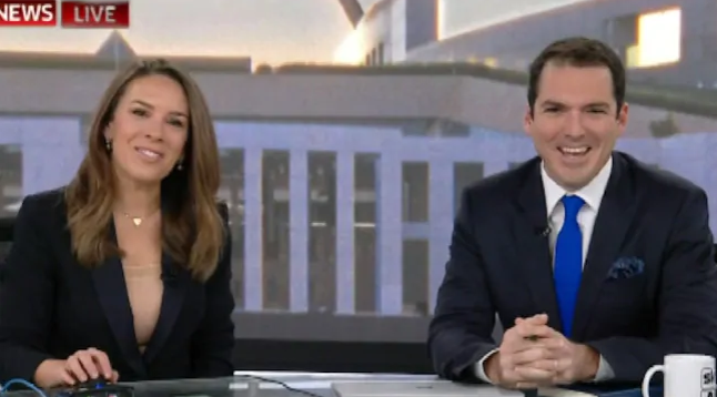 Peter Stefanovic was fresh faced for his debut on Sky News' First Edition alongside Laura Jayes.